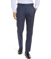 men's ted baker london roy extra trim fit pleated wool trousers, size 32r - blue