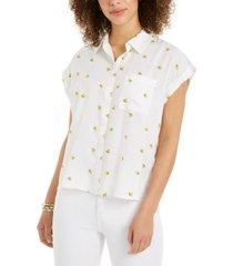 style & co petite lemon-print camp shirt, created for macy's