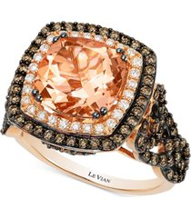 le vian peach morganite (2-9/10 ct. t.w.) and diamond (1-1/3 ct. t.w.) ring in 14k rose gold, created for macy's