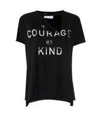andrea bogosian t-shirt soleil estampa metalizada - preto