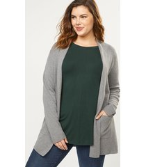 lane bryant women's open-front sweater blazer 26/28 heather gray