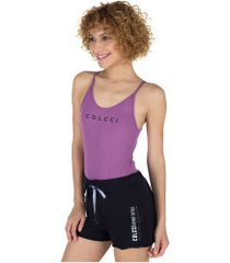 body fitness colcci canelado - feminino - roxo