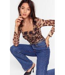 womens love like ours leopard high-leg bodysuit - brown