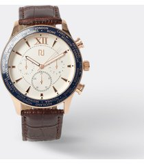 river island mens brown leather rose gold face watch