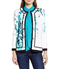 women's ming wang floral sweater jacket, size x-small - white