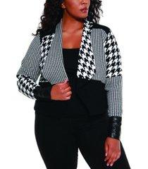 belldini black label women's plus size multi houndstooth cropped sweater blazer