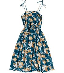 women's roxy nowhere to hide tie shoulder floral print midi dress, size large - blue