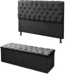 cabeceira mais calçadeira baú casal 140cm para cama box sofia suede preto - ds móveis