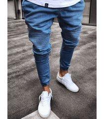 hombres rasgados lavados plisados mezclilla cintura media jeans