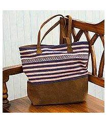 suede accented alpaca blend shoulder bag, 'fresh stripes' (peru)