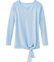 luchtige linnen pullover met bindsluiting, baltic blue 40