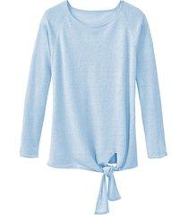 luchtige linnen pullover met bindsluiting, lichtblauw 40/42