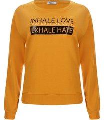 buzo mujer inhale love color amarillo, talla m