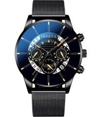 reloj pulso acero hombre cuarzo calendario 1753 negro naranja
