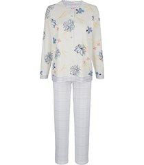 pyjama mona ecru::blauw::zalm