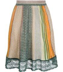 missoni striped glitter-embellished skirt - green