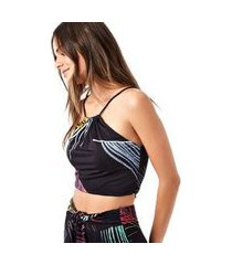 top cropped estampado folhas multi color est folhas multicolor preto - p