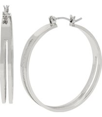bcbgeneration cut-out medium hoop earrings