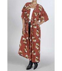 kimono para mujer tennis, estampado de flores y puntos