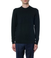 calvin klein dark green sweatshirt in wool and cotton with logo
