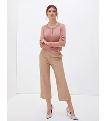 pantaloni cropped in similpelle