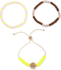 guess gold-tone 3-pc. set beaded stretch bracelets