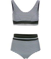 amir slama printed hot pants bikini set - black