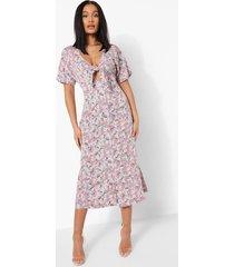 bloemenprint midaxi jurk met strik, blue