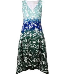 peter pilotto stencil-effect printed dress - blue