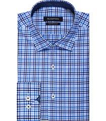 men's big & tall bugatchi trim fit check dress shirt, size 18 - blue