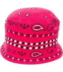 alanui bandana jacquard beanie - pink