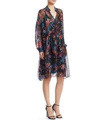 silk floral shirtdress