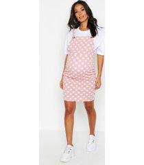 maternity polka dot pinafore dress, rose