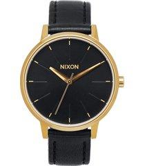 reloj kensington leather negro/dorado nixon
