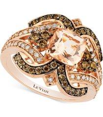 le vian chocolatier peach morganite (1 ct. t.w.) and diamond (3/4 ct. t.w.) ring in 14k rose gold
