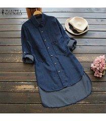 zanzea mujeres más el tamaño de manga larga túnica de dril de algodón blusa camisa con botones -azul oscuro