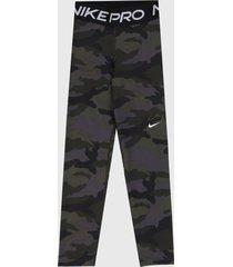 leggings verde oliva-gris-negro nike pro cropped