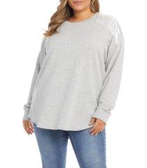 plus size women's karen kane fringe shoulder sweatshirt, size 2x - grey