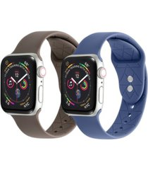men's and women's alabaster blue costal gray groove 2 piece silicone band for apple watch 38mm