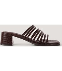 na-kd shoes sandaler med blockklack och många remmar - brown