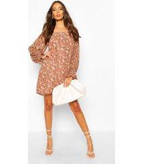 foil floral print square neck smock dress, rose