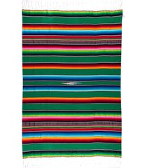 native yoga large mexican serape blanket kelly green cotton