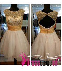 2015 new ball gown scoop backless short beaded cocktail/evening/prom dress ba21