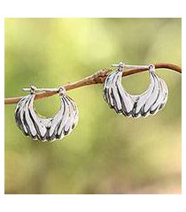 sterling silver hoop earrings, 'daylight shells' (indonesia)