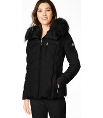calvin klein faux-fur-trim hooded down puffer coat, created for macy's