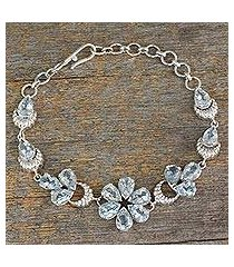 blue topaz link bracelet, 'mystic petals' (india)