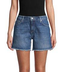 frayed cuff denim shorts