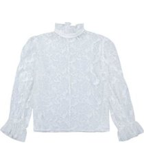 crew-neck lace blouse