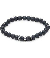 onyx & rainbow stretch beaded bracelet