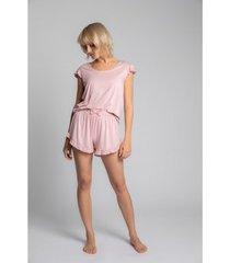 blouse lalupa la023 viscoze top met ruches mouwloos - roze